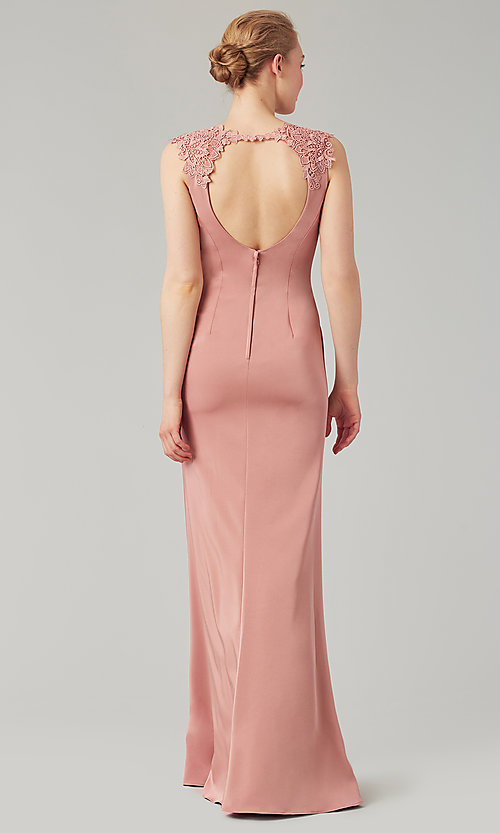 Image of stretch satin long fitted bridesmaid dress. Style: KL-200148 Back Image