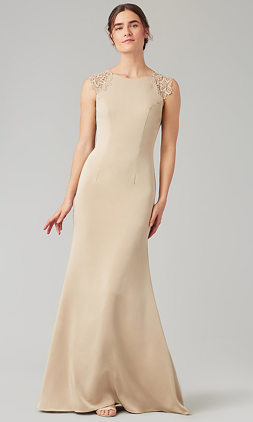Image of stretch satin long fitted bridesmaid dress. Style: KL-200148 Detail Image 7