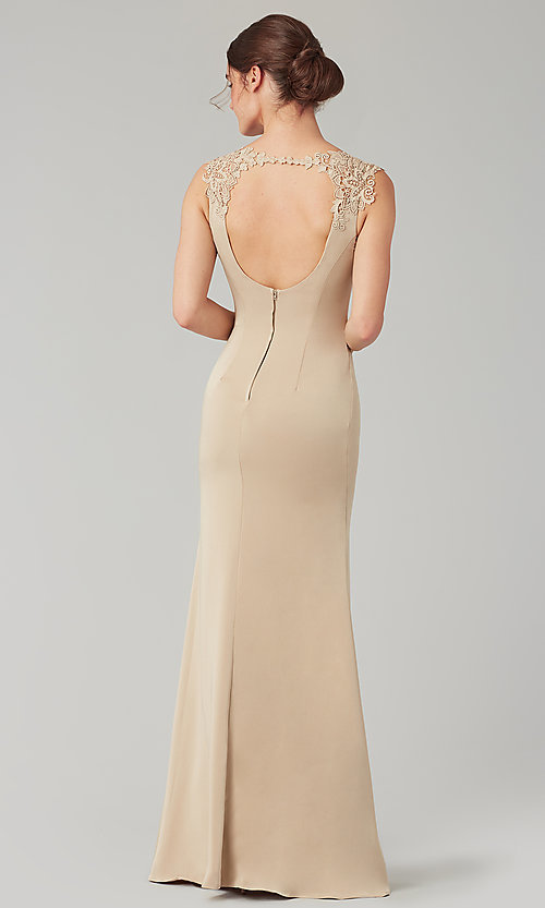 Image of stretch satin long fitted bridesmaid dress. Style: KL-200148 Detail Image 8