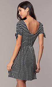 Image of short striped casual party dress with sleeves. Style: MY-5726FC1D Back Image