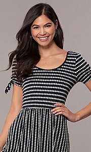 Image of short striped casual party dress with sleeves. Style: MY-5726FC1D Detail Image 1