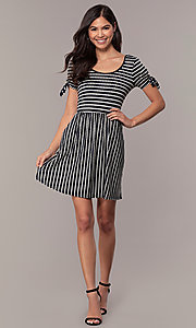 Image of short striped casual party dress with sleeves. Style: MY-5726FC1D Detail Image 3
