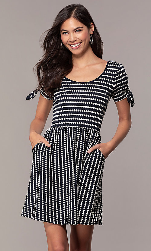 Image of short striped casual party dress with sleeves. Style: MY-5726FC1D Front Image