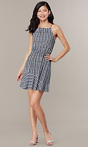Image of flounced-hem short striped casual party dress. Style: MY-5756JV1D Front Image