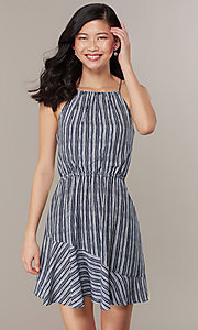 Image of flounced-hem short striped casual party dress. Style: MY-5756JV1D Detail Image 1