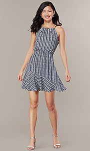 Image of flounced-hem short striped casual party dress. Style: MY-5756JV1D Detail Image 2