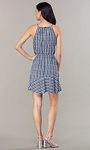 Image of flounced-hem short striped casual party dress. Style: MY-5756JV1D Back Image