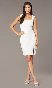 Image of white lace short graduation dress with side slit. Style: MY-5829BT1C Front Image