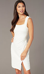 Image of white lace short graduation dress with side slit. Style: MY-5829BT1C Detail Image 1