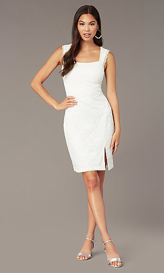 e95a092cfb4 White Lace Short Graduation Dress with Side Slit