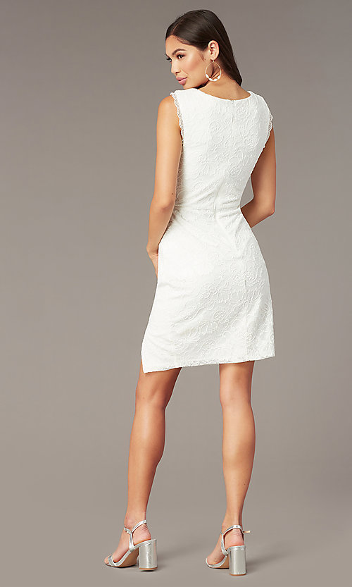 Image of white lace short graduation dress with side slit. Style: MY-5829BT1C Back Image