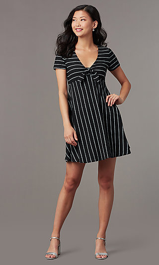 Striped Short-Sleeve Casual Party Dress