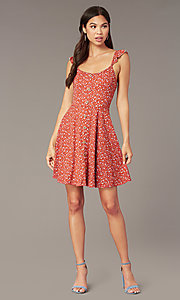 Image of short jersey print party dress with ruffle straps. Style: MY-5801WF1D Front Image