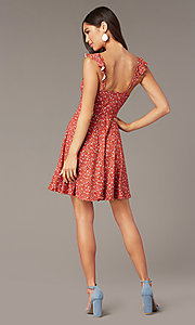 Image of short jersey print party dress with ruffle straps. Style: MY-5801WF1D Back Image