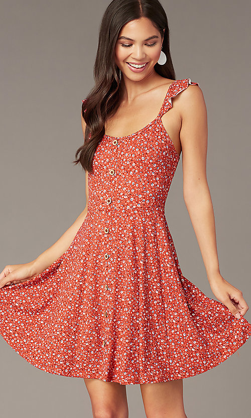 Image of short jersey print party dress with ruffle straps. Style: MY-5801WF1D Detail Image 1