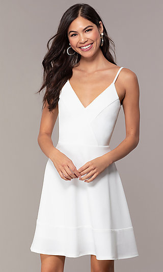 Short Flared-Skirt Ivory Graduation Dress by Simply