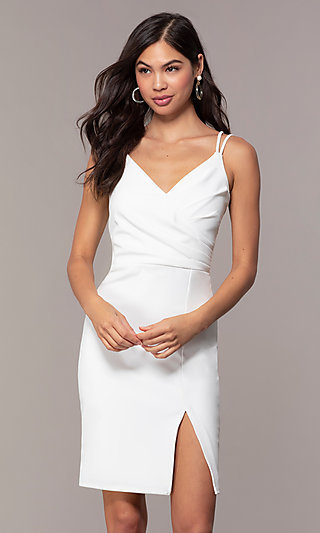 009711f37ad V-Neck Short Ivory Graduation Party Dress by Simply