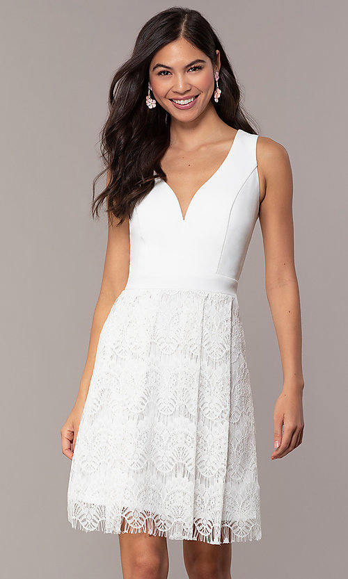 d93ed0bb7f Image of lace knee-length v-neck graduation dress by Simply. Style