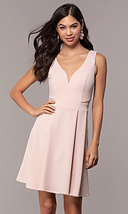 Image of grad party short Simply dress with box pleats. Style: MCR-SD-2838 Front Image