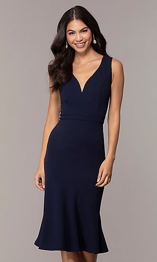 Knee-Length Navy Wedding-Guest Dress by Simply