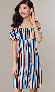 Image of striped casual off-the-shoulder short party dress. Style: IK-RK58132 Detail Image 2
