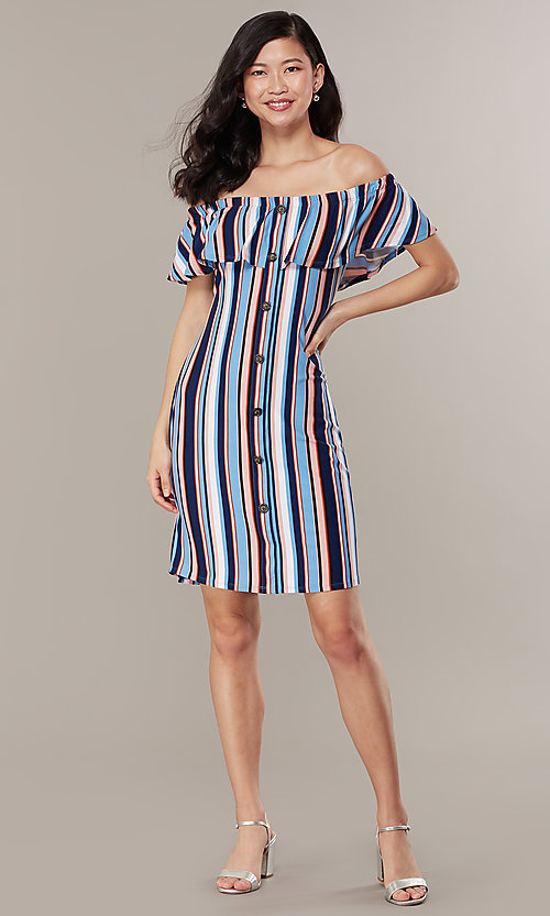 Image of striped casual off-the-shoulder short party dress. Style: IK-RK58132 Front Image