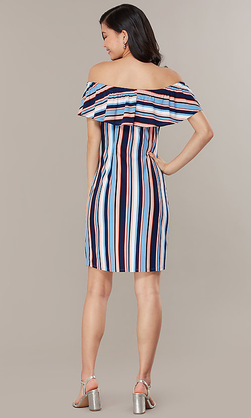 Image of striped casual off-the-shoulder short party dress. Style: IK-RK58132 Back Image