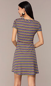 Image of short-sleeved casual striped party dress. Style: IK-RK59720 Back Image