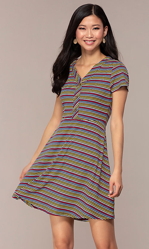 Image of short-sleeved casual striped party dress. Style: IK-RK59720 Front Image