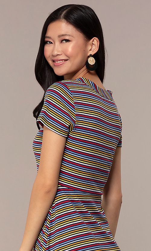 Image of short-sleeved casual striped party dress. Style: IK-RK59720 Detail Image 2
