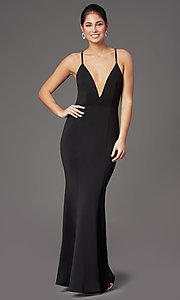 Image of caged-back deep-v-neck long black formal dress. Style: MT-9778-1 Front Image