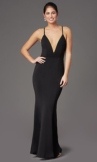 Caged-Back Deep-V-Neck Long Black Formal Dress