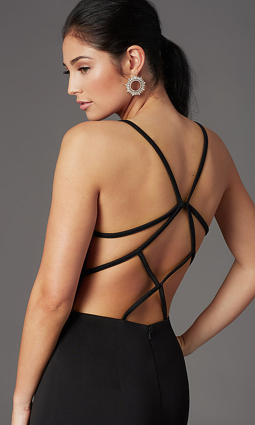 Image of caged-back deep-v-neck long black formal dress. Style: MT-9778-1 Detail Image 1
