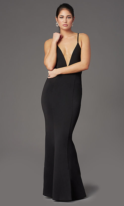 Image of caged-back deep-v-neck long black formal dress. Style: MT-9778-1 Detail Image 2