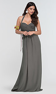 Image of Kleinfeld long halter chiffon bridesmaid dress. Style: KL-200004-v Detail Image 5