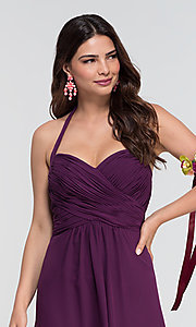 Image of Kleinfeld long halter chiffon bridesmaid dress. Style: KL-200004-v Detail Image 3