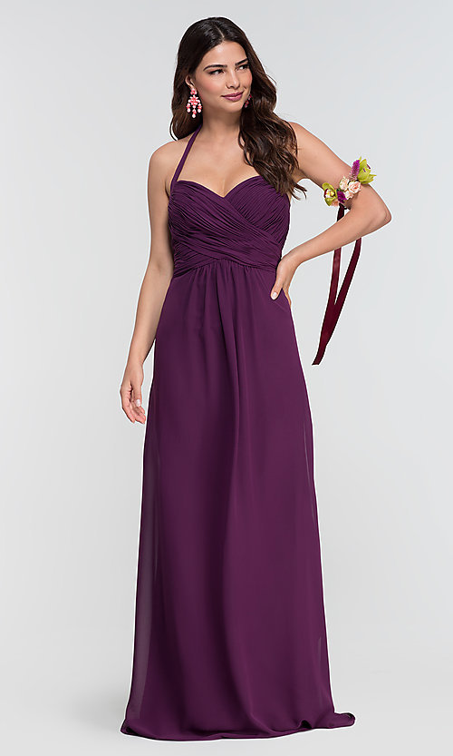 Image of Kleinfeld long halter chiffon bridesmaid dress. Style: KL-200004-v Detail Image 2