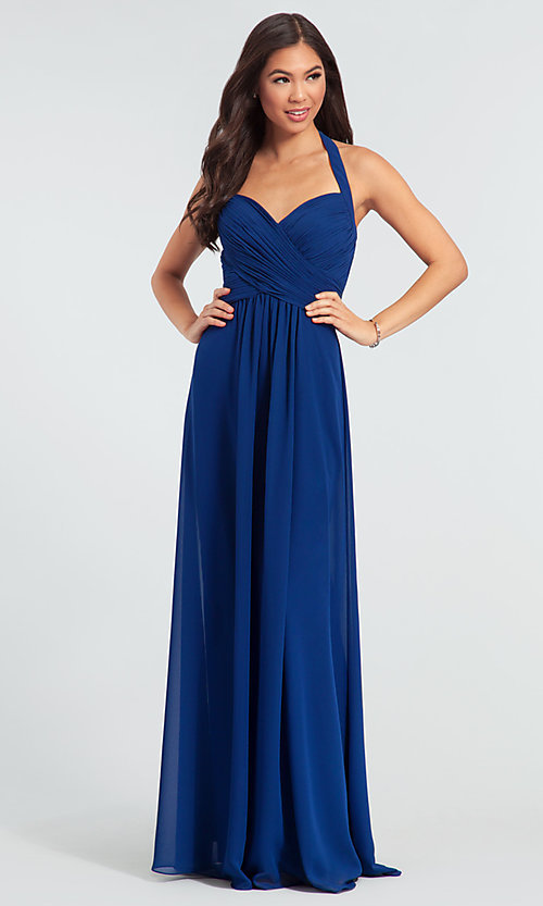 Image of Kleinfeld long halter chiffon bridesmaid dress. Style: KL-200004-v Front Image