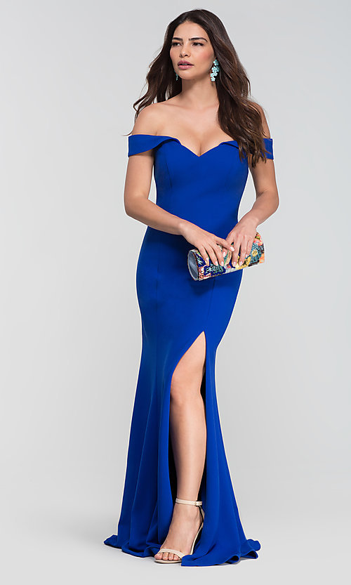 Image of Kleinfeld long off-the-shoulder bridesmaid dress. Style: KL-200025-v Front Image