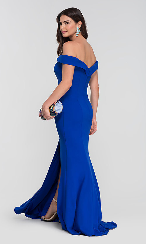 Image of Kleinfeld long off-the-shoulder bridesmaid dress. Style: KL-200025-v Back Image