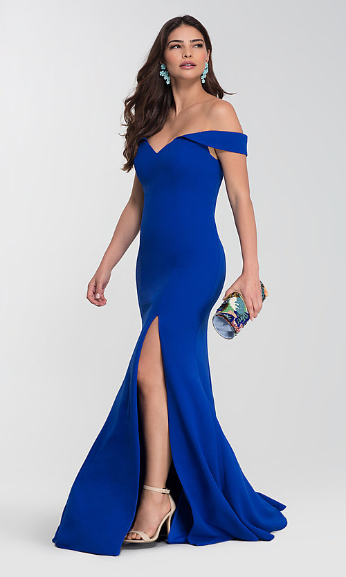 Image of Kleinfeld long off-the-shoulder bridesmaid dress. Style: KL-200025-v Detail Image 1