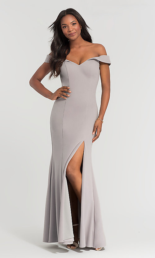 Image of Kleinfeld long off-the-shoulder bridesmaid dress. Style: KL-200025-v Detail Image 2