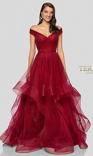 Long Terani Ball Gown-Style Glitter Formal Gown