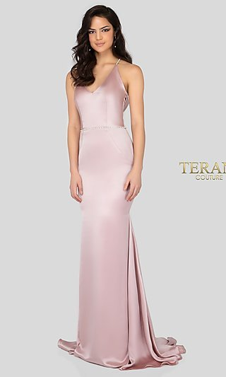 V-Neck Formal Gown with an Open Cowl-Back
