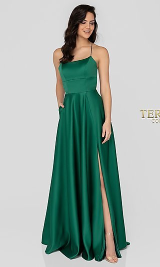 Long Terani A-Line Matte Satin Formal Gown