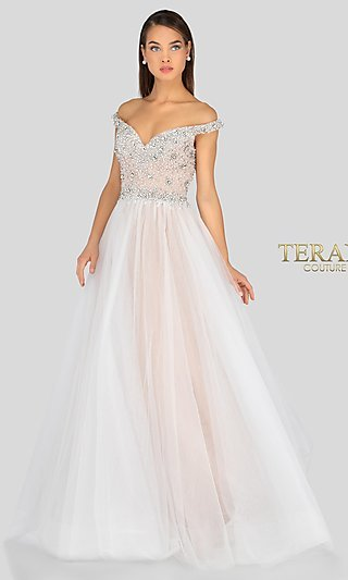 Terani Off-the-Shoulder Formal Gown with Beading