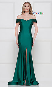 Image of long formal gown with off-the-shoulder neckline. Style: CD-2107 Front Image