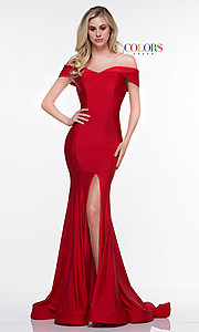 Image of long formal gown with off-the-shoulder neckline. Style: CD-2107 Detail Image 1