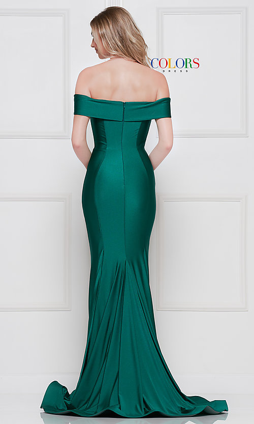 Image of long formal gown with off-the-shoulder neckline. Style: CD-2107 Back Image