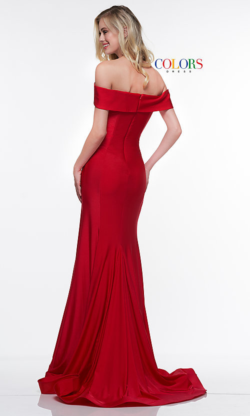 Image of long formal gown with off-the-shoulder neckline. Style: CD-2107 Detail Image 2